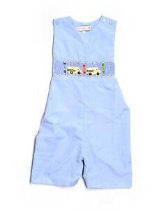 New Boy Blue Smocktions Smocked School Bus Romper Shortall Jon John Size 4