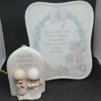 Enesco Precious Moments wedding day music box 1st Christmas ornament lot