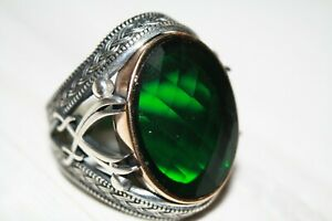 Turkish Sapphire Men's Ring 925 Sterling Silver Emerald stone Size 8