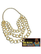 Chunky Gold Chain Necklace Gangster Lemon Mr T Rapper Bling Fancy Dress Unisex