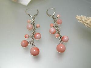 Top quality nature Angel skin Pink Coral Sterling Silver leverback ER cluster
