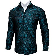 Men's Shirt Long Sleeve Dress Blue Green Teal Paisley Button Shirt Lot XL Formal