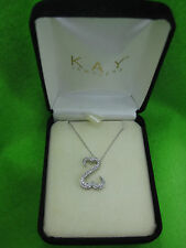 Jane Seymour 14K White Gold Open Heart 32 Diamonds Necklace $749 OFFERS WELCOME