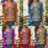 Womens Embroidered Bohemian Blouse V-Neck Short Sleeve Shirt Casual Tunic Tops