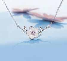 Kette Halskette Silber Strass Glitzer Blüte Blume rosa Sterlingsilber 925 edel