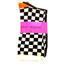 2 Pk Betsey Johnson Casual Socks, Ladies 9-11 Checkmate! & Black Ribbed