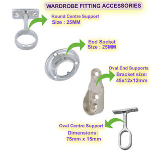 Wardrobe Fitting Accessories Fitting Tube Hanging Bracket Center End Brackets