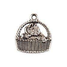 5 Breloques _ CHAT DANS UN PANIER 18X16mm _ Perles charms création bijoux _ B098