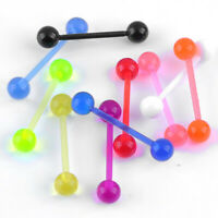 10Pcs Colorful UV Plastic Flexible Barbell Stud Tongue Ring Ball 14G Piercing US