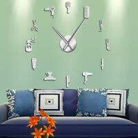 Barber Shop Giant Wall Clock With Mirror Effect DIY Decorative Frameless Clocks
