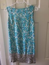 Bettina Liano Silk Floral And Sequin Shift Dress Vintage Retro Style Size 6