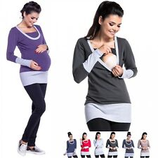 Zeta Ville - Women's breastfeeding top sweatshirt pregnancy nursing panel - 457c
