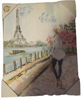 CKD Colleen Karis Canvas Wall Design Art Paris Eiffel Tower Girl Travel 16x20