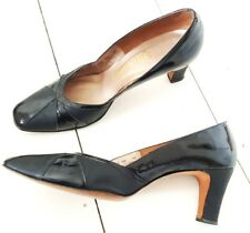 Vintage 50s Pinup Heels Size 10.5 Patent Leather Rockabilly Shoes