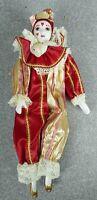 "Vintage 11"" Harlequin Jester Clown Mardi Gras Handmade Porcelain Figurine"