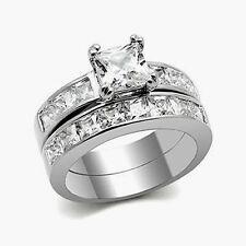 Steel Wedding Ring Set Women's Size 5-10 3.75 Cttw Princess Cut Aaa Cz Stainless