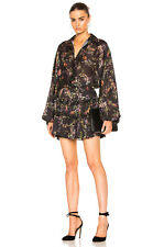 ALEXIS *LOE* BLACK FLORAL BUTTON FRONT RUFFLE FLIRTY DRESS M MEDIUM *RARE*