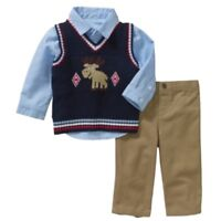 George Infant Boys Moose Suit Holiday Dress Up Outfit Sweater Vest Shirt & Pants