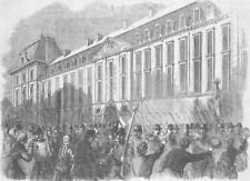 FRANCE. Troops leaving Prince Eugene Barracks, Paris, antique print, 1859