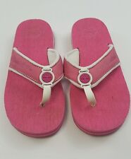 Timberland thongs Sandals Shoes Women's Pink and White with Hearts Logo Size 6