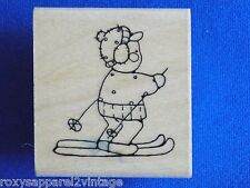 Snow Skier Wood Mounted Rubber Stamp IRL Designs Gently Used