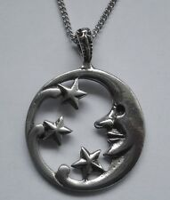 Chain Necklace #1273 Pewter MOON & STARS PENDANT (44mm x 33mm) Celestial