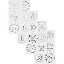 Adventskalender Nummer Aufkleber Set Weihnachten Etiketten - Silber Weiß Modern