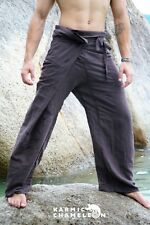 Hemp Thai Fisherman Pants Hippie Brown Yoga Plain Kung Fu Martial Arts Festival