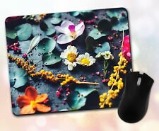 Flower Mouse Pad • Assorted Flowers Leaves Wood Nature Gift Decor Desk Accessory