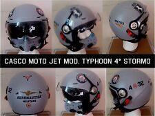 "Casco moto Jet pilota militare Mod. Typhoon "" 4° STORMO"" grigio, nuovo"