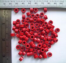 100 x Red Ferrite Rings 6.6mm Dia 4.3mm Thick 3mm Hole, Ex Rediffusion Wired TV