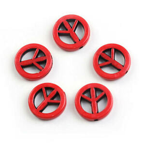 25 Red Peace Sign Charms Colorful Acrylic Spacer Beads 17mm - BD146