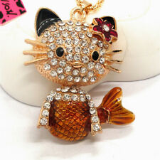 Hot Betsey Johnson Brown Enamel Crystal Cute Cat mermaid Pendant Women Necklace