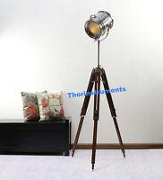 VINTAGE INDUSTRIAL DESIGNER NAUTICAL SPOT LIGHT TRIPOD FLOOR LAMP LIGHT DECOR