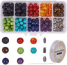 SUNNYCLUE 200pcs 8mm Natural 7 Chakra Lava Stone Beads Round Loose Beads Kit for