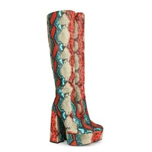 Women's Snakeskin Boots Super High Heels Platform Print Knee High Zip Boot Shoes