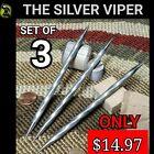 "(3) ""THE SILVER VIPER"" RAZOR SHARP STEEL NINJA DOUBLE TIP THROWING SPIKE SET"