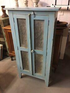 Blue Wooden Cabinet / Pie Safe W/ Puntured Metal Art Doors Sides 3 Shelves