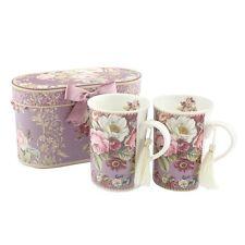 Set of 2 Rose Garden Royal Mugs & Gift Box Floral Tea Coffee Gift Lesser Pavey
