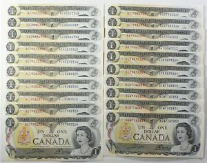 Canada 1973 $1 Dollars Lot of 20 Some Consecutives #14205