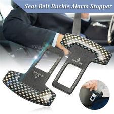 2pcs Black Carbon Fiber Car Safety Seat Belt Buckle Alarm Stopper Clip Clamp JP