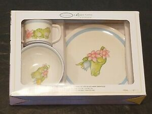 Portmeirion Botanic Garden Terrace Frog Dishes Melamine 3 pc set Child Cup Plate