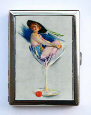 Pin up pinup Flapper Martini Glass Cigarette Case Wallet Business Card Holder