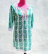 CALYPSO CHRISTIANE CELLE Embroidered 3/4Sleeve Blue Green Print Tunic Kurta Sz.3