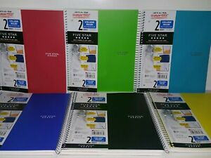 Lot Of 2 Mead Five Star 2 Subject College Ruled Notebook 120 Sheets 11 In X 8.5