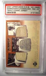 2001 Upper Deck Heroes Maris Dimaggio Mantle Triple Combo Jersey Card HOB. PSA 8