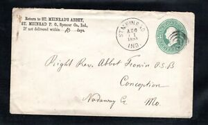 1883 Fancy Cancel St. Meinrad, IND, Aug. 11th, Sc #U163  to Conception, Mo.