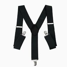 35mm Mens Braces Suspenders Elastic Wide in Black Clip on Trousers Jeans