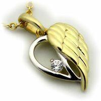 Anhänger Engel Zirkonia echt Gold 333 Gelbgold Bicolor Flügel Damen Schutzengel
