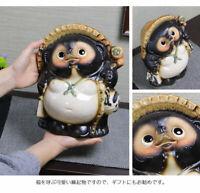 New Pottery Shigaraki Tanuki Lucky Charm Japanese Ornament Fuku No.9 ta-0214